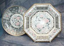 Vintage Octagonal Porcelain Plate + round dish plate Japanese Blue Imari Signed