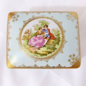 Vintage-Fragonard-Courting-Couple-Vanity-Trinket-Box-With-2-Trays-Light-Blue