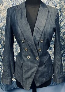 WHITE-HOUSE-BLACK-MARKET-Size-8-Stretch-Thin-Denim-Jacket-Blazer-EUC