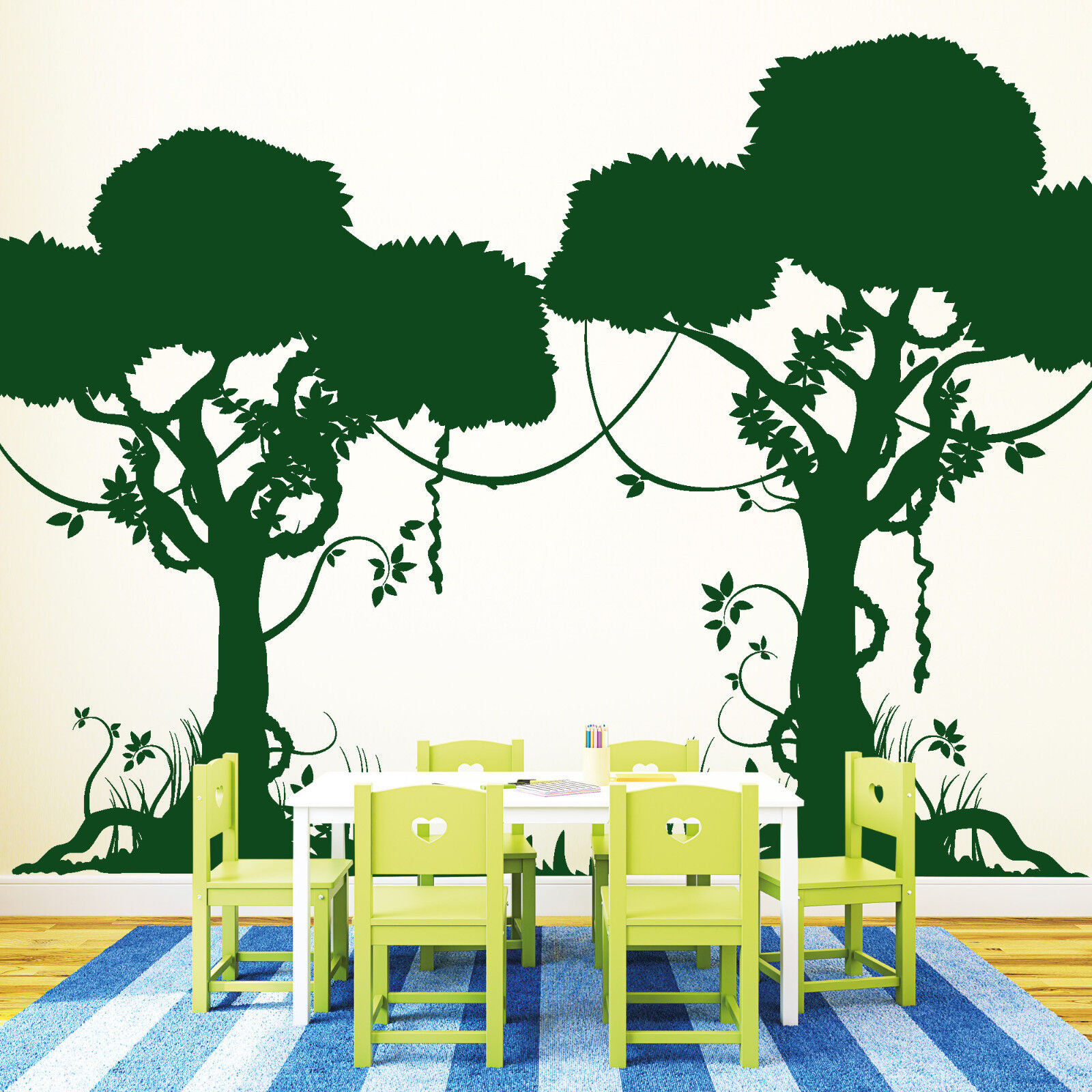 10901 Wall Tattoo Jungle Jungle Forêt Safari arbres vigne Play Kid's room