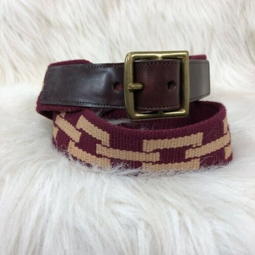 Coach leather & knit canvas geometric belt. 32