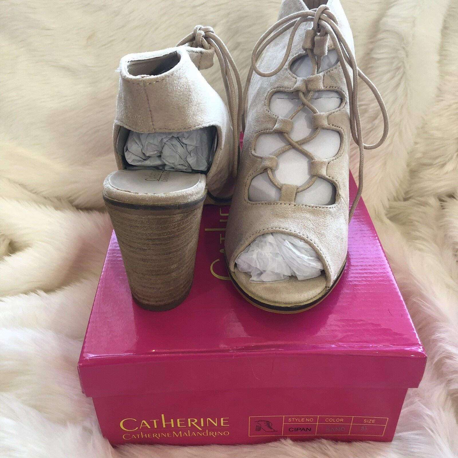 Catherine Catherine Malandrino  Cipan Sand suede block heel sandals. 8.5 shoes