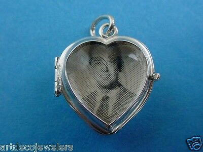 Vintage silver GLASS BUBBLE HEART FOB PHOTO LOCKET MAGNIFIER charm LAST ONE #F