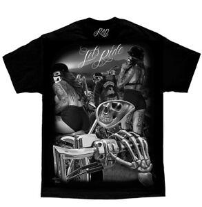 DGA-David-Gonzales-Art-Ride-or-Die-Lets-Ride-Biker-Skeletons-Tattoos-T-Shirt
