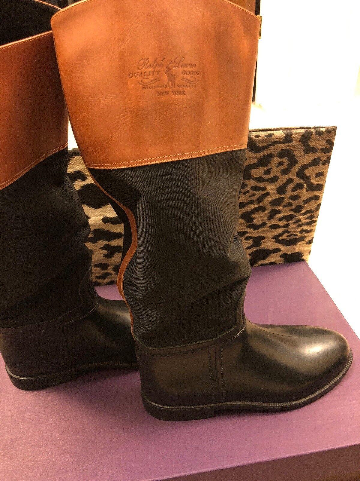 Ralph Lauren Goma Y Cuero botas De Lluvia increíble condición