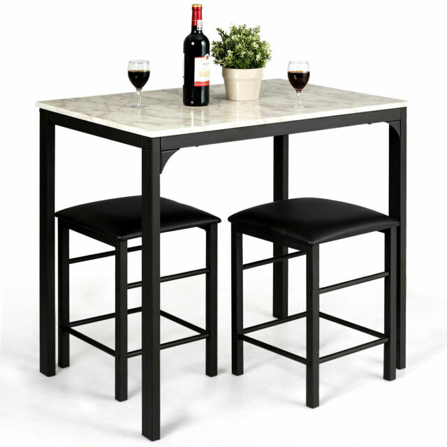 Awesome 3 Piece Counter Height Dining Set Faux Marble Table And 2 Chairs Kitchen Bar New Ibusinesslaw Wood Chair Design Ideas Ibusinesslaworg