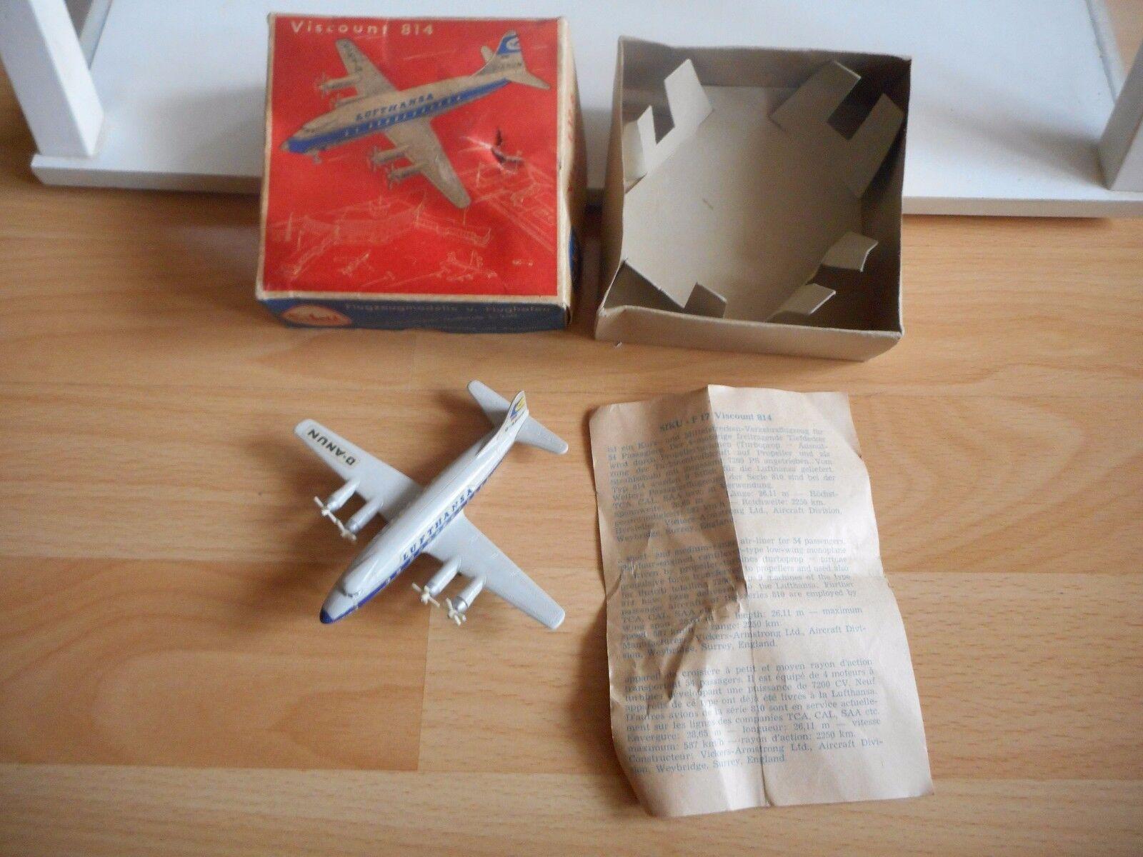 Siku Airplane Viscount 814  Lufthansa  in grau in Box (siku nr  F 17 a)