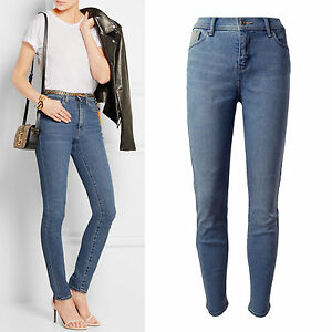 Blue-solid-comfort-stretchy-high-rise-waist-denim-slim-skinny-jeans-size-12-24