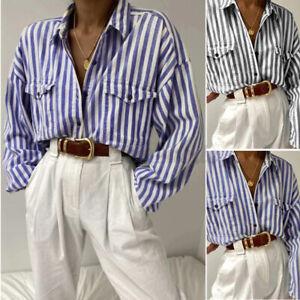 ZANZEA-Women-Casual-Collared-Long-Sleeve-Shirt-Stripe-Button-Up-Tops-Blouse-Plus