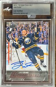 2015-2016-UPPER-DECK-Jack-Eichel-AUTO-LEAF-YOUNG-GUNS-RC-ROOKIE-BUYBACKS-DNA-BGS