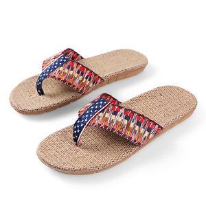 d27fa22df Women Rainbow Top-sider Linen Flip Flops Summer Braided Strap Thong ...