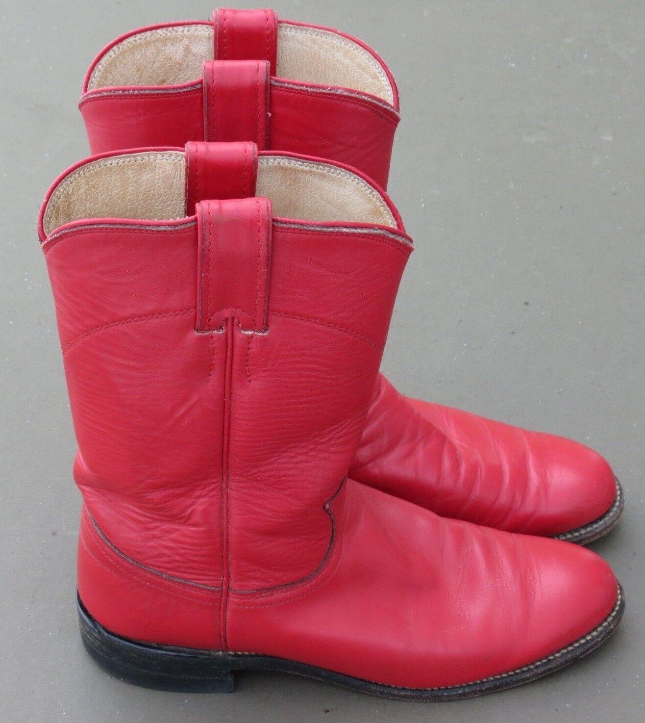 Justin Ropers Damenschuhe Sz 6.5 B Round Toe ROT Leder Western Cowboy Stiefel L3055