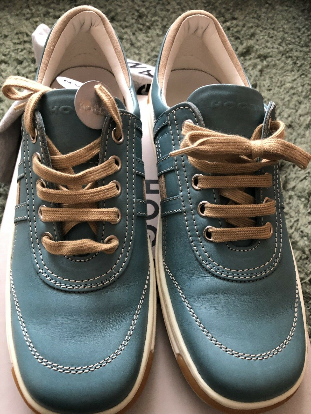 Hogan Womens Fondo Preppy leather Lace Up Sneakers Sz 37.5