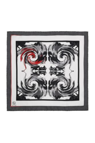Hand finished luxury 100/% silk by Nikks of London. Red Hope pocket square