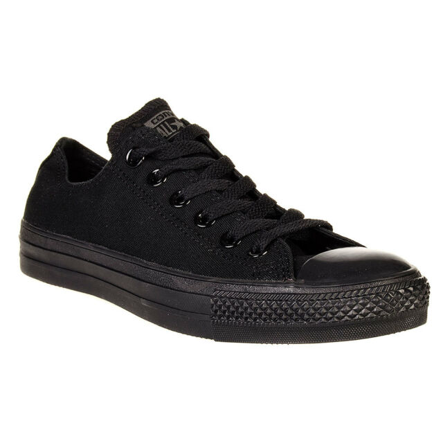 7c05a8c30fca93 Converse Chuck Taylor Star Black Mono Ox Top Skate Mens Womens Shoes Sizes