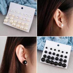 Schmuck-Frauen-Stud-der-Ohren-Set-Ohrringe-Simulierte-Perle-Netter-Ball