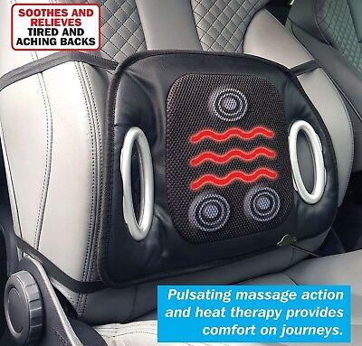 Streetwize Black 12v Car Heated Seat Cushion With Lumbar Back Support Massage Ebay