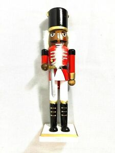 Nutcracker-Soldier-Beard-Sword-Hat-w-Chains-Wood-15-034-Christmas-Dark-Skin-Rare