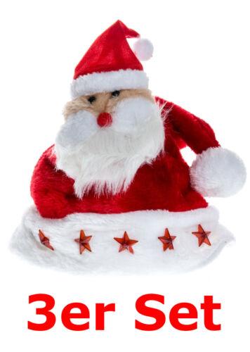 3er SET NATALE BERRETTO CAPPELLO DI PELUCHE BABBO NATALE 5 LED Stelle Rosso Bianco Xmas Santa
