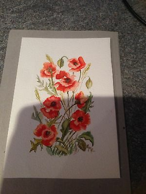 Original.  Poppies In The grass. Signed EME Watercolour painting.