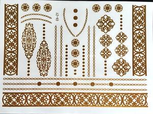New-Flash-Tattoo-Einmal-Temporary-Metallic-Gold-Silber-Armband-Kette-Henna-Ring