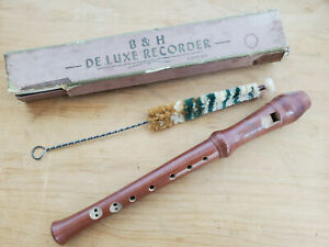 Vintage-Wooden-B-amp-H-De-Luxe-Recorder-Boosey-and-Hawkes-Free-P-amp-P