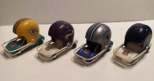 Lot Of 4 NFL 1970s NFC Packers Vikings Lions Bears Football Helmet Buggy Cars