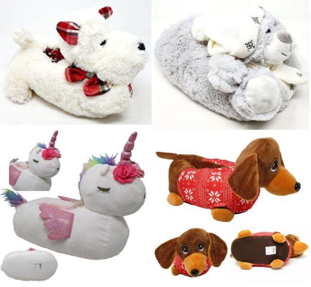 Ladies Moccasin Womens Dog Motif Slippers Hard Sole Shoes Sizes UK 3 4 5 6 7 8