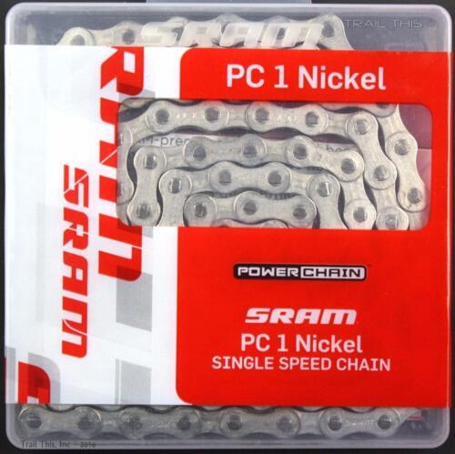 """SRAM PC-1 Nickel 1//2/"""" x 1//8/"""" 114L BMX Track Fixed Gear Single-Speed Bike Chain"""
