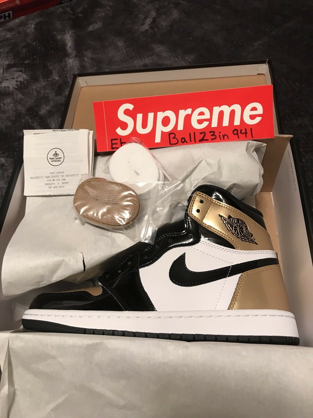 DS Air Jordan 1 Retro gold Toe Sz-8 861428 007 W Receipt Top 3 Bred All Star DB
