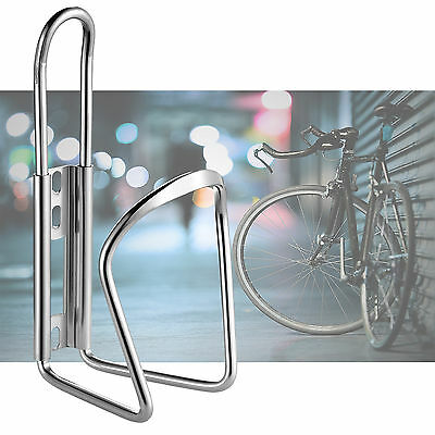 Bicycle Cycling Water Drink Bottle Holder Bracket Aluminium Metal Cage-Silver
