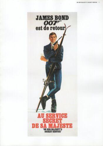 """2002 Vintage JAMES BOND /""""AU SERVICE SECRET DE SA MAJESTE/"""" MINI POSTER Art Litho"""