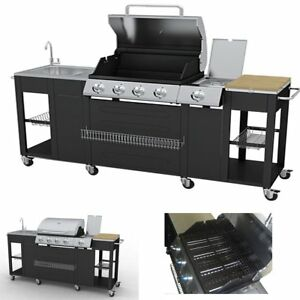 Outdoor Bbq Barbecue 4 Burners Gas Side Burner Grill