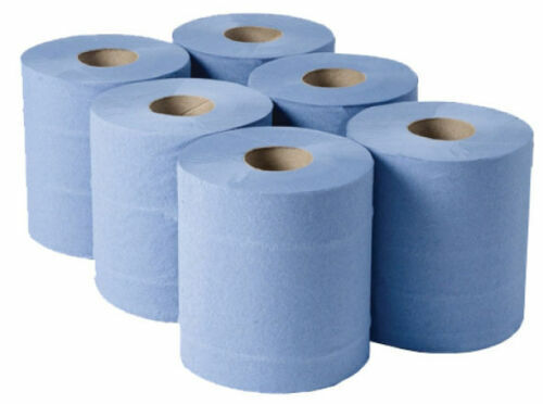 6-X-BLUE-ROLL-2Ply-Centrefeed-Rolls-Paper-Hand-Towels-Absorbent-Made-In-UK