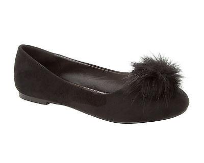 Mujeres Negro Imitación Gamuza Pom Pom plana Dolly Ballet Zapatos De Salón señoras UK Size 3-8