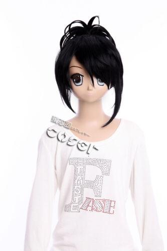 W-354 GINTAMA Kyubei Yagyu COSPLAY Perücke Wig ANIME MANGA schwarz black 32cm