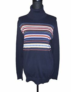 Tommy Hilfiger Women's Navy Blue Multi Button Trim Turtleneck Sweater Size Large