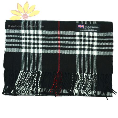 Men Women unisex 100/% CASHMERE Scarf tartan stripe Plaid Wool SCOTLAND