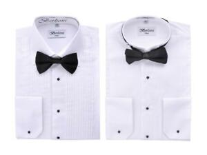 Berlioni-Italy-Men-039-s-Tuxedo-Dress-Shirt-Wingtip-amp-Laydown-Collar-with-Bow-Tie