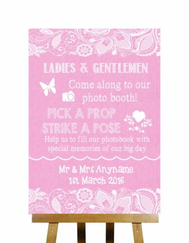 Pink Burlap /& Lace Effect Pick A Prop Photobooth Personalised Wedding Sign