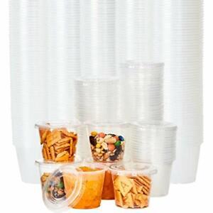 Bulk Disposable Soufflé or Jello Shot Portion Cups w/Lids, Clear Plastic 5.5 Oz