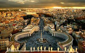 PLAQUE MÉTAL   place saint pierre Rome   30 X 20 CM