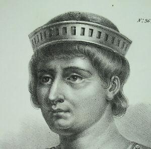 Antique-Print-Robert-The-Pius-Son-D-Hugues-Capet-King-Franc-Dynasty-Capetians