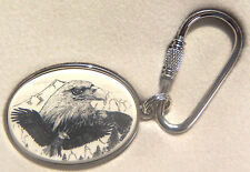 Key Ring Leather Barlow Scrimshaw Carved Painted Art Wolf Pair Wolves  330519
