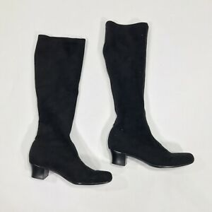 Black Suede Knee High Tall Pull