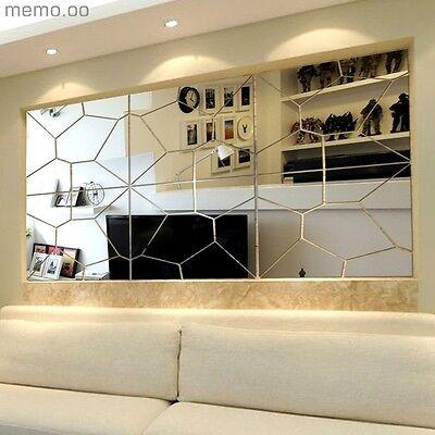 7Pcs Moire Mirror DIY Hallway Wall Sticker Removable Decal Art Mural Home Decor