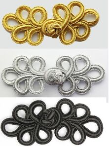5 Pairs hand stitched Frog Fasteners Closure Button Knots Colour M Gold  #S19