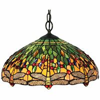 Hanging Lamp Glass Stained Light Vintage Ceiling Shade Chandelier Pendant Swag