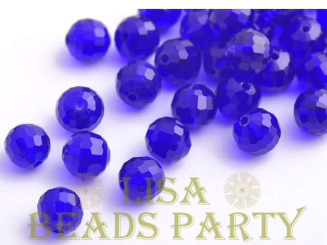 20pcs 8mm 96Facets Round Faceted Loose Spacer Crystal Glass Beads Bulk Deep Blue