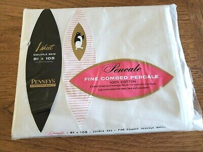 Vintage Sheets~Penney/'s~Percale~Fine Combed~Double Flat~186 TC~NIP~100/% Cotton~